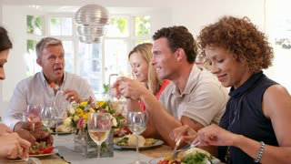 Mature Friends Around Table At Dinner Party Shot On R3D