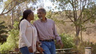 Middle aged black couple laugh while walking in countryside