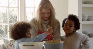 Mother And Children Baking Cake At Home Shot On R3D