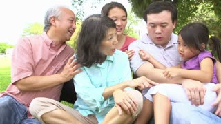 Multi Generation Family Playing Game In Park Together