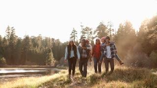 Multi generation family walking towards camera near lake