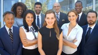 Outdoor Portrait Of Multi-Cultural Business Team Shot On R3D