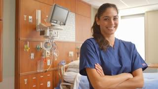 Portrait Of Female Nurse In Hospital Ward Shot On R3D