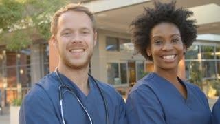 Portrait Of Medical Team Outside Hospital Shot On R3D