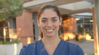 Portrait Of Nurse Standing Outside Hospital Shot On R3D