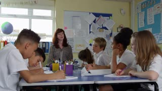 Pupils And Teacher Sitting At Table In Classroom Shot On R3D