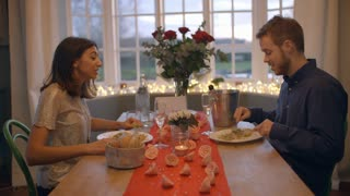 Romantic Couple Enjoying Valentines Day Meal Together