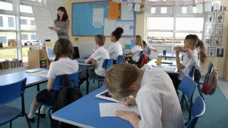 School Pupils In Maths Class With Teacher Shot On R3D
