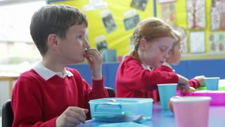 Schoolchildren Sitting At Table Eating Packed Lunch
