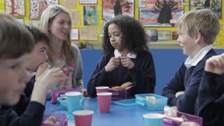 Schoolchildren Sitting Eating Packed Lunch With Teacher