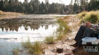 Senior black man on a camping trip fishing by a rural lake