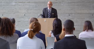 Senior Businessman Addresses Conference Shot On R3D