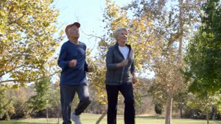 Senior Couple Exercising With Run Through Park