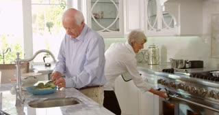 Senior Couple Make Roast Turkey Meal In Kitchen Shot On R3D