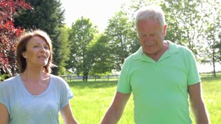 Senior Couple Walking Through Summer Field Together