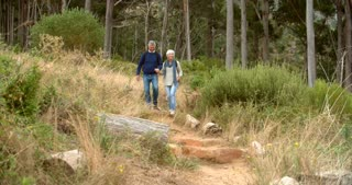 Senior couple walking towards the camera on rural path