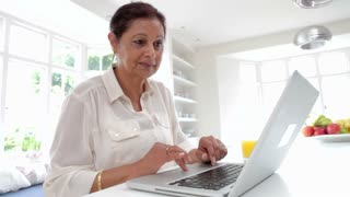 Senior Indian Woman Using Laptop Computer At Home