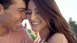 Slow Motion Portrait Of Happy Young Hispanic Couple