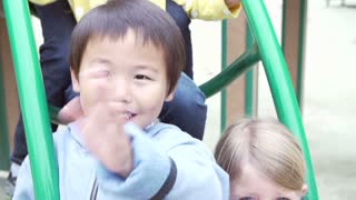 Slow Motion Sequence Of Children Sitting On Climbing Frame
