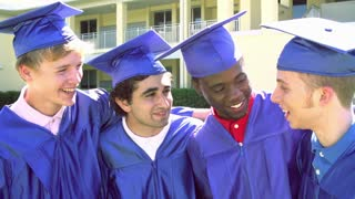 Slow Motion Sequence Of High School Students At Graduation