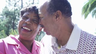 Slow Motion Sequence Of Senior Couple Embracing Outdoors