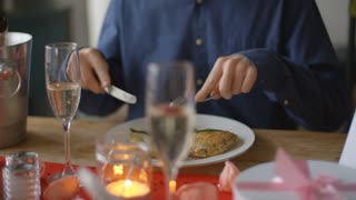 Slow Motion Shot Of Couple Enjoying Valentines Day Meal