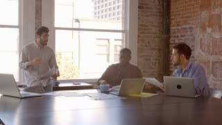 Slow Motion Shot Of Creative Brainstorming Meeting In Office