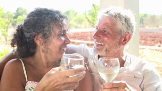 Slow Motion Shot Of Mature Couple Drinking Wine Together