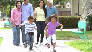 Slow Motion Shot Of Multi Generation Family Walking In Park