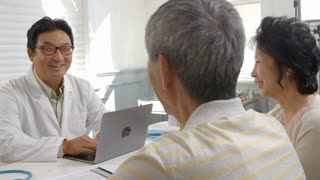 Slow Motion Shot Of Senior Couple Meeting With Doctor