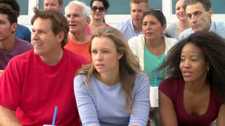 Spectators Cheering At Outdoor Sports Event In Slow Motion