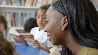 Teacher And Pupils Reading In Library Shot On R3D