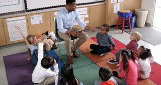 Teacher introduces story book to young pupils, elevated view