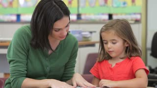 Teacher Reading Book With Female Pupil