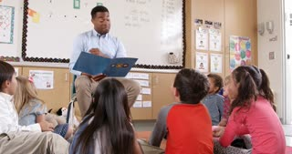 Teacher reading kids a story in an elementary school class
