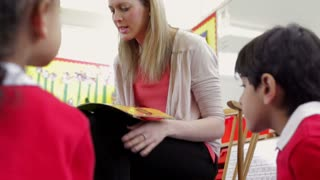 Teacher Reading Story To Elementary School Pupils