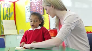 Teacher Reading With Female Pupil At Desk