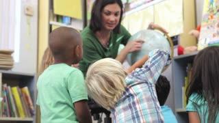Teacher Showing Group Of Elementary Age Schoolchildren Globe