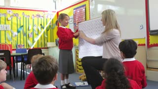 Teacher With Elementary School Pupils In Maths Lesson