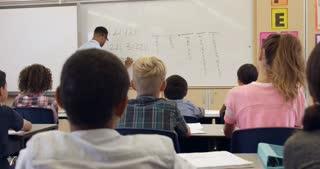 Tilt shot of teacher using tablet in math class, shot on R3D