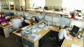 Time Lapse Sequence Of Busy Office