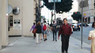 Time Lapse Shot Of Pedestrians On Sidewalk In Los Angeles