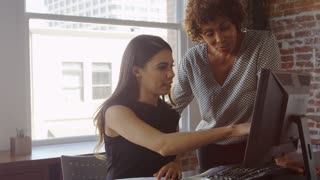 Trainee And Businesswoman Work On Computer Shot On R3D
