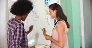Two Businesswomen Having Brainstorming Meeting In Office