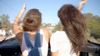 Two female friends standing up in the back of a moving car