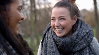 Two Female Friends Walking Through Park In Winter