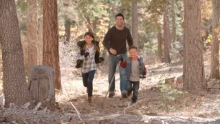 Two kids running ahead of their dad in a forest, front view