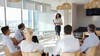 Businesswoman Making Presentation Shot Through Doorway
