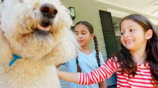Two Girls Stroking Family Dog On Porch Of House