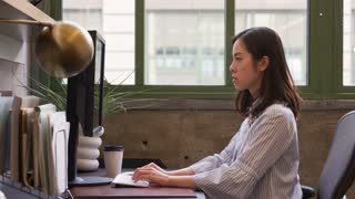 Young Asian woman using computer in an office, side view